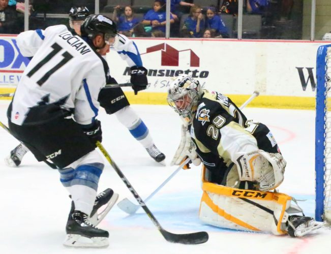 Wheeling's Sean Maguire (29) comes up with a save o Idaho's  Anthony Luciani (11) during  Wednesday's 4-1 victory at WesBanco Arena.    Photo by  Joe Lovell