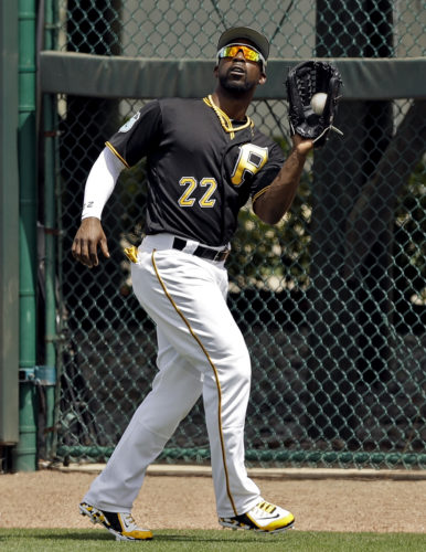 Pittsburgh Pirates right fielder Andrew McCutchen makes a catch on a fly ball by Detroit Tigers' JaCoby Jones during the fourth inning of a spring training baseball game Saturday, March 25, 2017, in Bradenton, Fla. (AP Photo/Chris O'Meara)