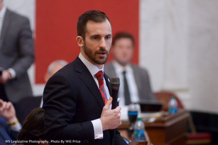Photo by Will Price/West Virginia Legislative Photography West Virginia Senate Majority Leader Ryan Ferns, R-Ohio, speaks during a session at the state Capitol in Charleston last week.