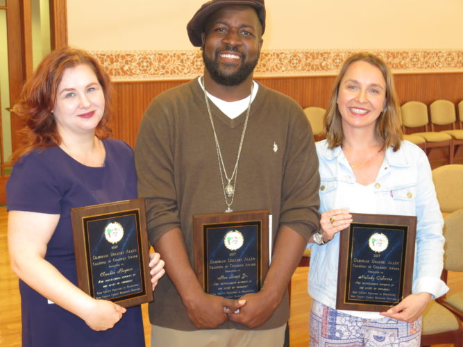 From left, Claudia Raymer, Ron Scott Jr. and Melody Osborne are the recipients of the 2017 Deborah Doleski Allen Champion of Children Awards. The ceremony took place Friday in the Catholic Charities ballroom in Wheeling. Photo by Betsy Bethel