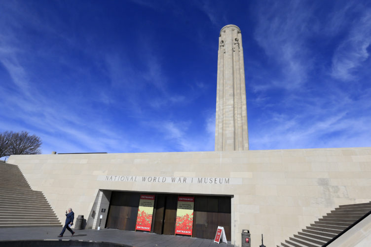 In Feb. 16, 2017 photo a visitor leaves the National World War I Museum in Kansas City, Mo. (AP Photo/Orlin Wagner)