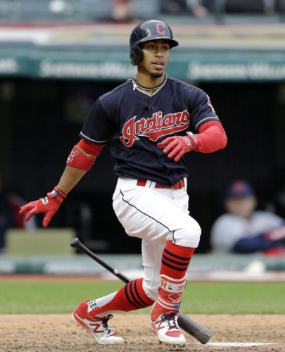 Cleveland Indians' Francisco Lindor bats in the seventh inning against the Seattle Mariners in a baseball game, Saturday, April 29, 2017, in Cleveland. Lindor was safe at first base on an error by Seattle Mariners' Danny Valencia. (AP Photo/Tony Dejak)