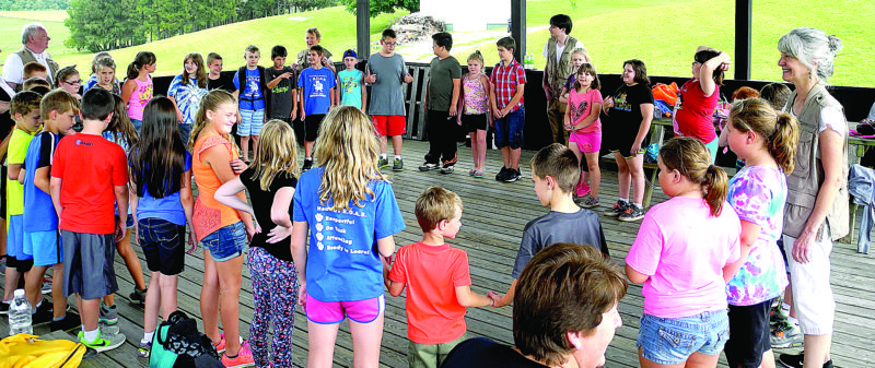 The Randolph County Schools students took part in Randolph County Fair Educational Day this year where students were able to engage in activities such as this one where they interacted with individuals from the Old Brick Playhouse. (Inter-Mountain photo by Brooke Binns