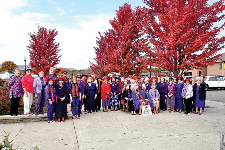 Elkins Purple Majesties Red Hatters' Dowager Queens hosted the monthly meeting Oct. 17 at the Railyard Restaurant in Elkins. Queen Candy Crawford thanked the members for their support during her absence. The traditional warning was led by Queen Susan Channell who also announced the October birthday members who were serenaded on kazoos. B.J. McKenzie offered the blessing before the luncheon buffet.