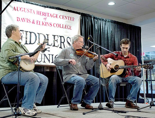 Kim Johnson, Bobby Taylor and Jesse Pearson perform at the 2015 Fiddlers' Reunion. For this year's event, master fiddlers from throughout West Virginia will share their talents in short sets from 10 a.m. to 4 p.m. today in The Joni and Buck Smith Arts Forum in Myles Center for the Arts. The performances are free and open to the public.