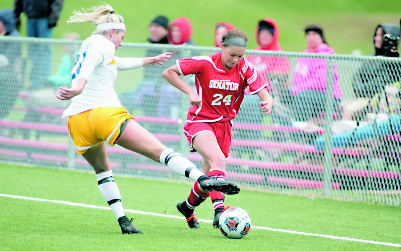 The Inter-Mountain photo by Kevin Hostetler Davis & Elkins College freshman Asheli Freed moves the ball against Ursaline on Saturday.