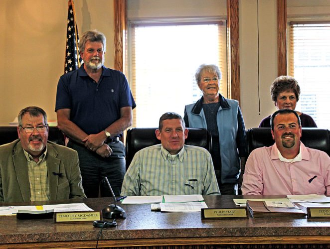 The Inter-Mountain photo by Bonnie Branciaroli The Barbour County Commission proclaimed Tuesday that November be West Virginia Association of Retired School Employees month in Barbour County. Back row from left are Doug Schiefelbein, Betty Daugherty and Carolyn Davis; and in the front row are Commissioners Timothy McDaniels, Philip Hart and Jedd Schola, president.