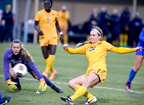 Junior midfielder Alli Magaletta tallied the game-winner in the 16th minute for WVU against No. 5 Duke in the NCAA Tournament Quarterfinals.