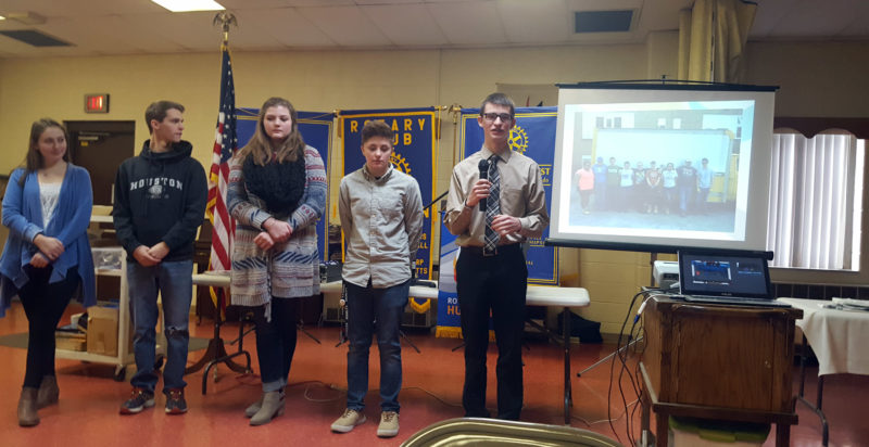The Inter-Mountain photo by Baylie Helmick Buckhannon-Upshur High School students, from left, Jenna Marple, Johnny O'Hara, Sidney Maxwell, Alexandra Edwards and Sean Crites speak before the Buckhannon Rotary Club Tuesday
