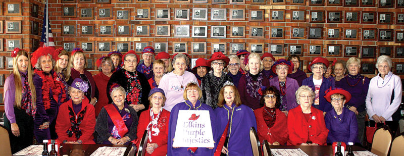 Elkins Purple Majesties Red Hats hosted its monthly meeting Jan. 9 at the Steer Restaurant in Elkins with 38 in attendance. Mothers Debbie Cook and Carole Helmick presided over the meeting. Duchesses for the meeting were Debbie Cook, Carole Helmick, B.J. McKenzie and Texie Mallow.