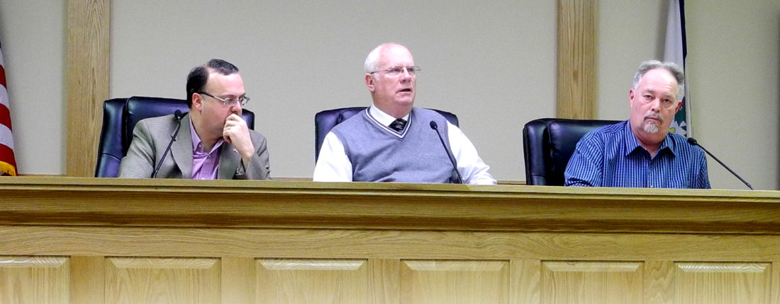 Randolph County Commissioners discuss the rising regional jail bill during Thursday's meeting. From left are Commissioner Mark Scott, Commission President Mike Taylor and Commissioner Chris See.