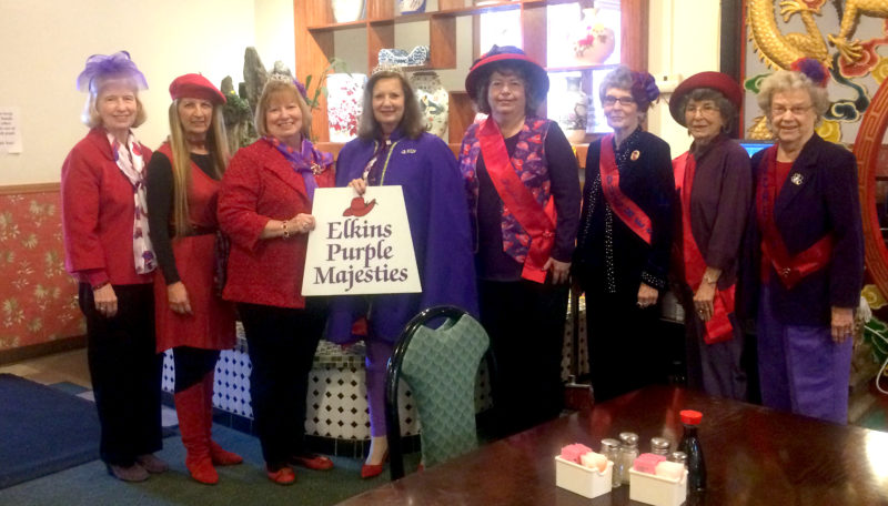 Submitted photo The Elkins Purple Majesties Red Hats host their February meeting on Monday at The China Cook Restaurant in Elkins, with 25 in attendance.