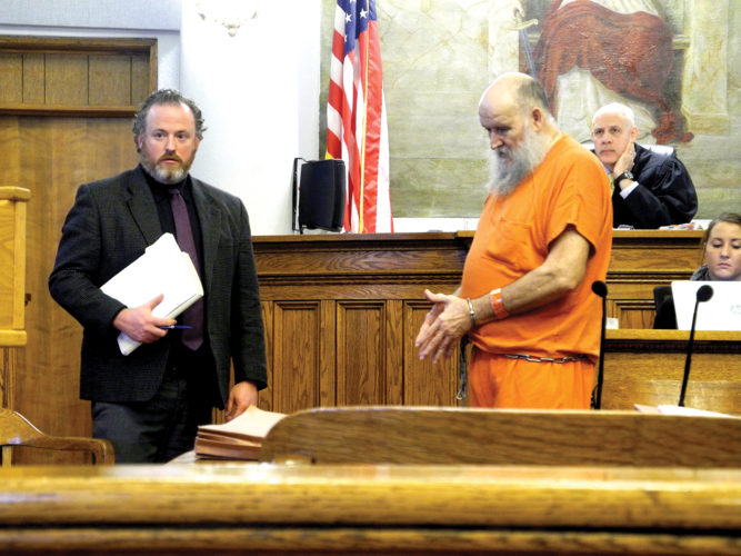 Donald Ray Hamilton, 67, of Elkins, right, appears in court with his defense counsel, Jeremy Cooper, Wednesday. Hamilton entered into a plea agreement during the hearing.
