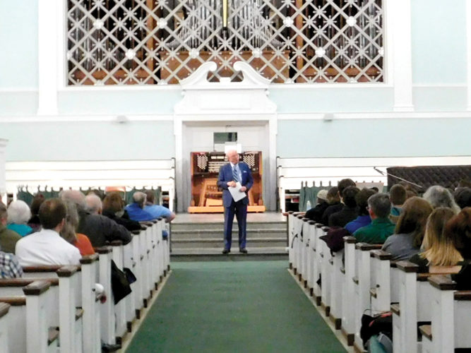 Author Ronald C. White Jr. talks about Abraham Lincoln's second inaugural address Wednesday at Wesley Chapel.