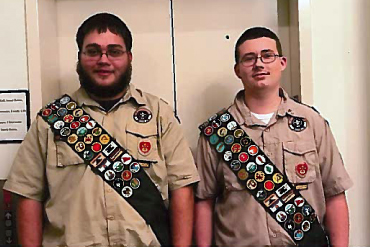Submitted photo Brandon Earl Cutlip, 17, left, and Daniel Duane Scott, 16, each receive their Eagle Scout rank on Jan. 24. Cutlip is the son of Shawn and Loretta Cutlip of Mill Creek. Scott is the son of Larry and Nancy Scott of Beverly. Cutlip's service project was building a handicap-accessible picnic table for Mt. Carmel Baptist Church, while Scott built two benches for the new Izaak Walton League of America nature trail. They will be celebrating their accomplishments at a court of honor on March 11. They are both members of Troop 66 of Beverly. The Troop is sponsored by Mt. Carmel Baptist Church and The American Legion Post 29.