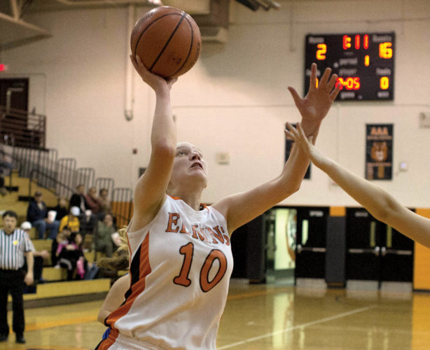 The Inter-Mountain file photo by Kevin Hostetler Senior Brooke Pomp racked up 11 points and 6 rebounds for EHS Monday.