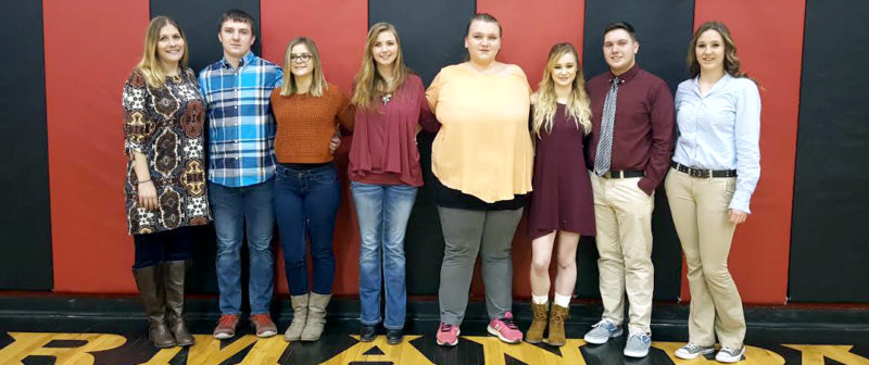 The Inter-Mountain photo by Lydia Rhodes Taking part in the Harman School National Honor Society induction ceremony were, from left, Jonnie Ann Lane-Skidmore, Clifton Ours, Rebecca Bennett, Emily Cooper, Cheyeanne Swiger, Collette Knotts, Zachary Roy and Kaylee Dudley