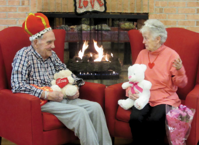 Submitted photo Jim Cost and Dixie Gutmann, residents of Elkins Rehabilitation & Care Center, receive the honor of being crowned Valentine King and Queen at the facility's 2017 Valentin's Day Ball.