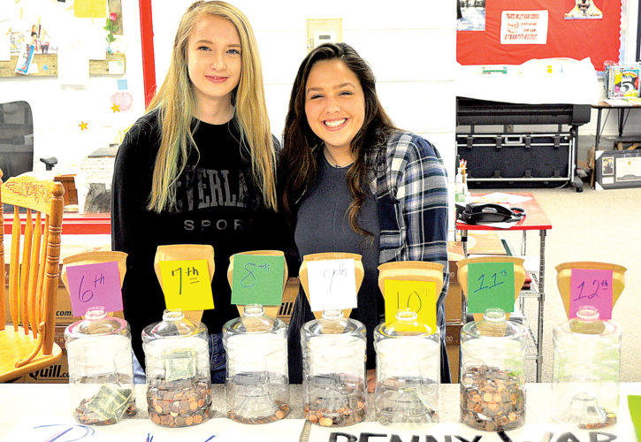 Freshman Key Club member Tatum Wamsley, left, and sophomore Key Club President Alana Rennix encourage students to donate funds to the Penny War at Tygarts Valley High School.
