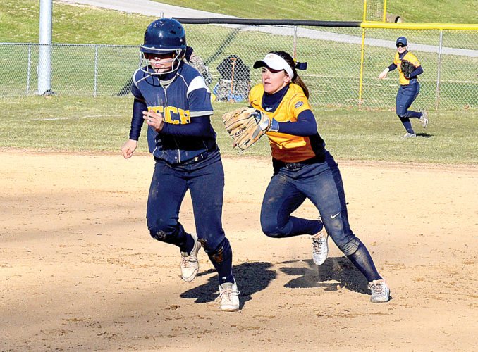 Alderson Broaddus junior shortstop Samantha Turner tracks down a WVU Tech Lady Golden Bear for a tag out in game two on Wednesday at North Philippi Park.