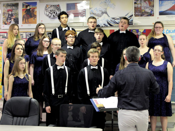 The Inter-Mountain photo by Brooke Binns Buckhannon-Upshur High School's Sound Waves performed two pieces for attendees at the Upshur Board of Education meeting Tuesday