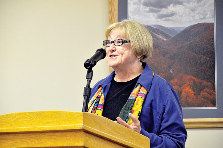 Mountain Arts District President Josie Cuda makes a presentation to the Randolph County Commission Thursday afternoon.
