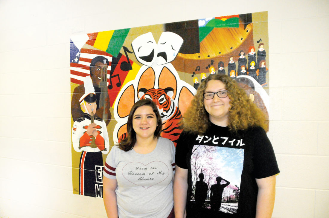 Skyler Moats, right, a ninth-grader at Elkins High School, is the winner of a national art contest designed to raise awareness of kidney disease. She is shown here with one of her best friends, Alicia Kelley.