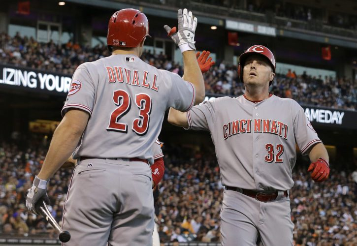 Cincinnati Reds' Jay Bruce (32) is congratulated by Adam Duvall (23) after hitting a two-run home run against the San Francisco Giants during the fourth inning of a baseball game in San Francisco, Monday, July 25, 2016. (AP Photo/Jeff Chiu)