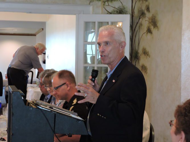 T-L Photo/JANELL HUNTER Congressman Bill Johnson, R-Ohio, spoke to a group of government officials and members of the business community at a meeting of the Ohio Mid-Eastern Governments Association on Tuesday.