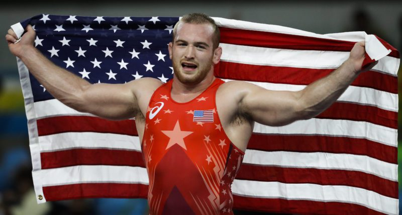 United States' Kyle Frederick Snyder celebrates after winning the gold medal during the men's 97-kg freestyle wrestling competition at the 2016 Summer Olympics in Rio de Janeiro, Brazil, Sunday.