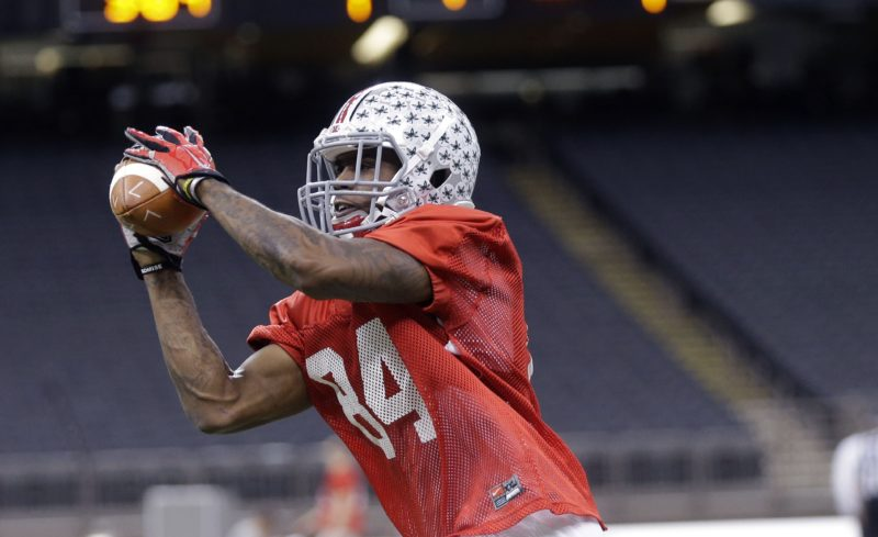 AP Photo / In this Dec. 29, 2014, file photo, Ohio State wide receiver Corey Smith (84) goes through drills during practice at the Mercedes-Benz Superdome in New Orleans. The departure of the Ohio State's 3 best receivers makes for a jumbled depth chart as the Buckeyes prepare for the 2016 season. There is lots of talent and potential, definitely _ this is Ohio State, after all _ but not a lot of guys who have highlight videos yet.
