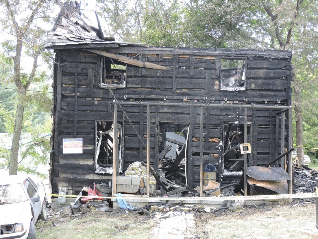 T-L Photo/DYLAN MCKENZIE  The home at 204 Abby St., in Belmont, was destroyed by fire early Thursday.