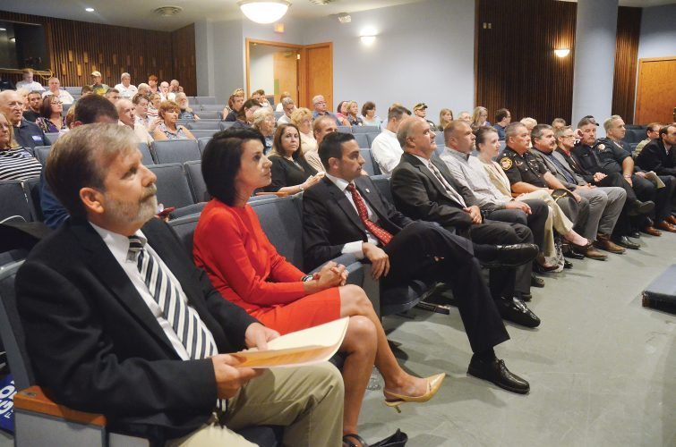 """Photo by Scott McCloskey Candidates whose names appear on the Belmont County ballot in the Nov. 8 general election turned out for a candidate forum Thursday night at Ohio University Eastern. Pictured, from left, are Commissioner Matt Coffland, Democrat; Ginny Favede, Democrat for the Ohio House;  Ohio Sen. Lou Gentile, D-Steubenville; Ryan Olexo, Democrat  for county clerk; County Treasurer Kathleen Kelich, a Democrat; Sheriff David Lucas, a Republican; Terry Lively, Democrat for county engineer; David Trouten, Republican candidate for county clerk; Richard """"Dick"""" Flanagan, Democrat for sheriff; Ohio Rep. Andy Thompson, R-Marietta; and J.P. Dutton, Republican for county commissioner."""