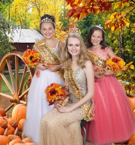 Photo Provided by Reed Tychonski The 53rd Barnesville Pumpkin Festival continues today with a new queen, princess and mini miss to reign over the Giant Pumpkin Parade at 2 p.m. today. Pictured, from left, are Princess Lillian Ford, the 11-year-old daughter of Tricia and Chris Ford of Barnesville; Queen Mackenzie Allen, the 17-year-old daughter of Kendra and Bill Allen and Lena and Frankie McCaslin of Woodsfield; and Mini Miss Mary Faith Hammontree, the 8-year-old daughter of Angela and Charles Hammontree of Canton, Ohio. The festival continues through Sunday.
