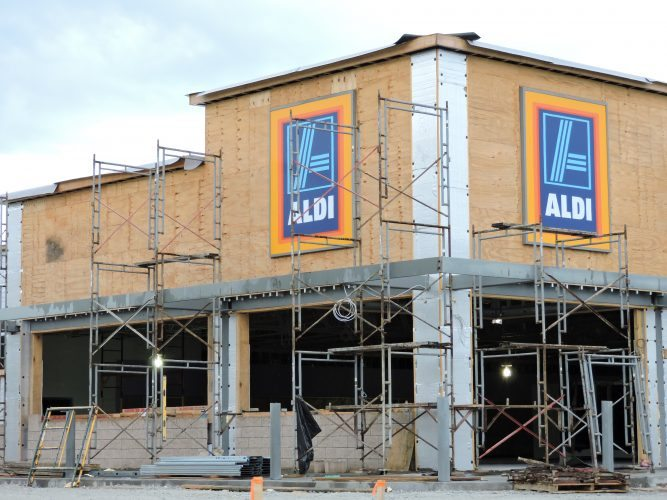 Photo by Casey Junkins - As production in Ohio's  Utica Shale has grown, the need for new businesses has followed. The new Aldi grocery store remains under construction near St. Clairsville.
