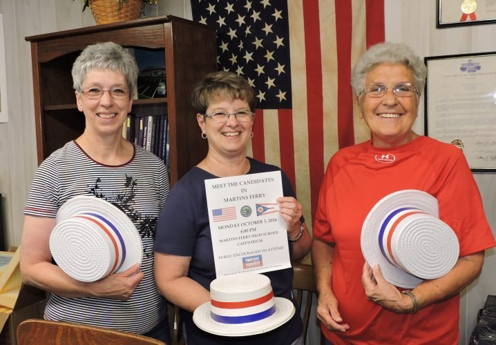 T-L Photo/SHELLEY HANSON GETTING READY for their Meet the Candidates event in Martins Ferry on Monday are, from left, Sherry Stratton, president of the Martins Ferry Area Chamber of Commerce, chamber secretary Marian Klier and Dorothy Powell, chamber executive director.