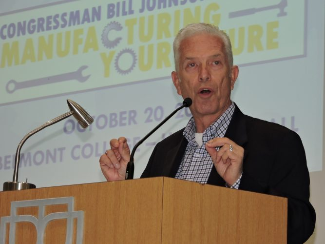 Photo by Casey Junkins U.S. Rep. Bill Johnson, R-Ohio, speaks to about 400 local high school students regarding potential careers in manufacturing during a Thursday forum at Belmont College.