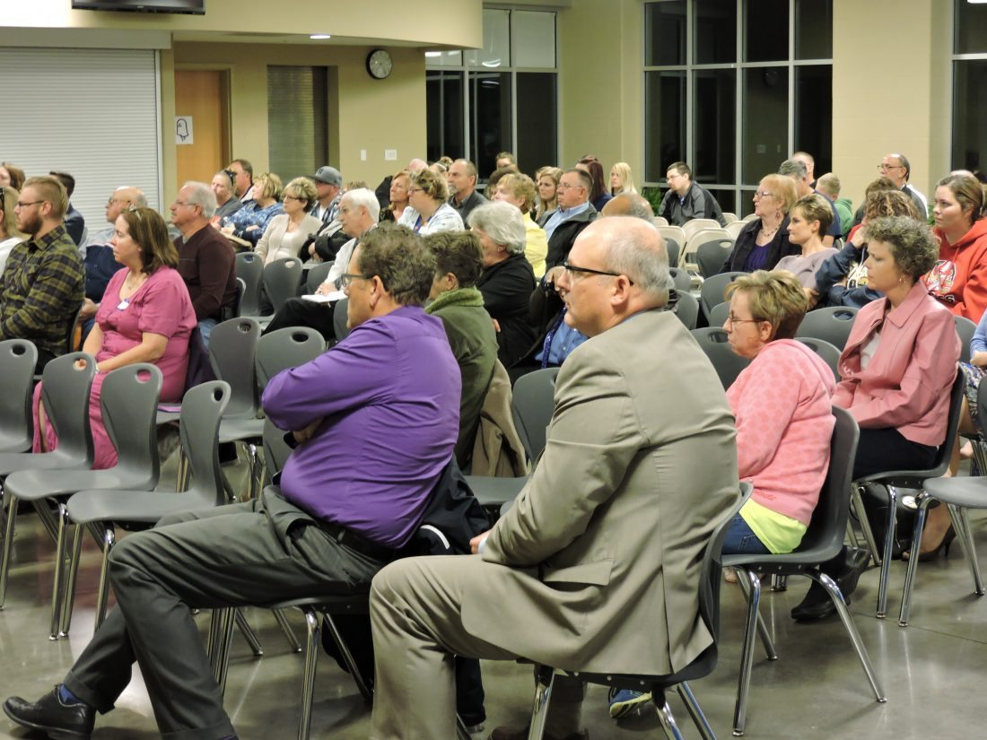 About 120 Monroe County residents attend at town hall meeting on drug abuse in Woodsfield on Tuesday.