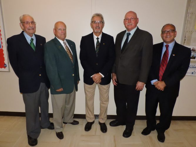 T-L Photo/ ROBERT A. DEFRANK Past Ohio University Eastern deans, from left, Robert Bovenizer, Michael McTeague, Robert Newton and Bill Willan join current Dean Paul Abraham, right, at an event Thursday kicking off a year of activities leading up to OUE's 60th anniversary.
