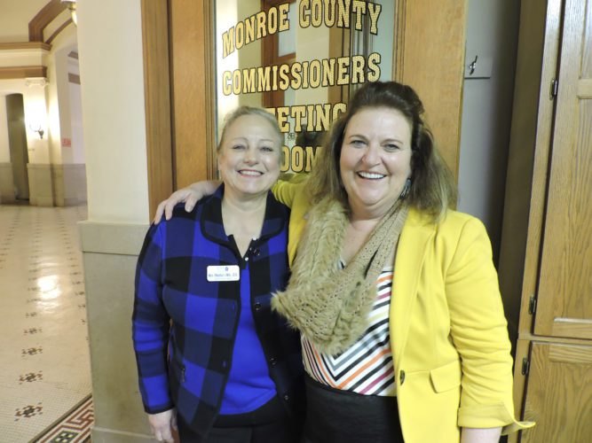 T-L Photo/JANELL HUNTER LeaderStat Consultants and Monroe County Care Center administrators Mary Rhinehart and Cynci Taplin spoke to the Monroe County Board of Commissioners Wednesday about the center's upcoming Medicare/Medicaid re-certification.