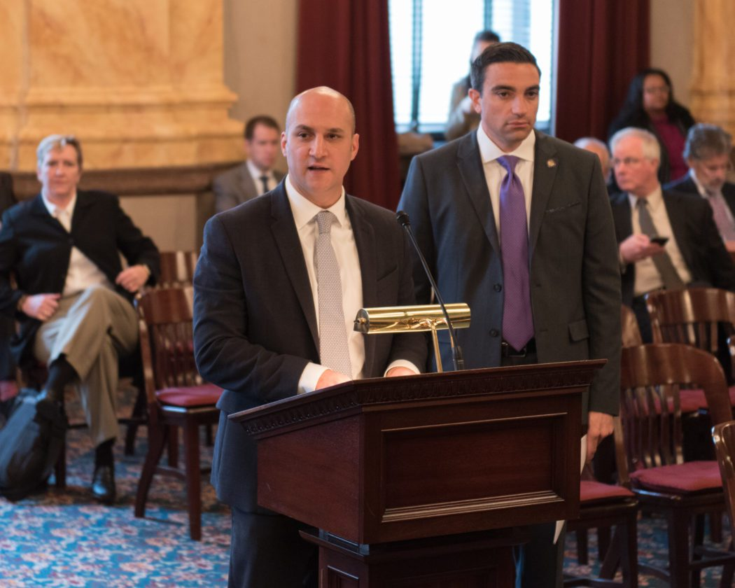 Photo Provided Ohio Sens. Joe Schiavoni, D-Boardman, left, and Lou Gentile, D-Steubenville, testify Wednesday before the Ohio Senate Ways and Means Committee on behalf of Senate Bill 302, which would give a property tax exemption to disabled veterans.