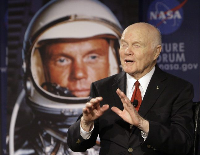 "U.S. Sen. John Glenn talks with astronauts on the International Space Station via satellite before a discussion titled ""Learning from the Past to Innovate for the Future"" in Ohio."