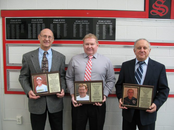 T-L Photo/BUBBA KAPRAL THESE THREE football coaches were inducted into the Ohio Valley Football Coaches Association Assistant Coaches Hall of Fame. Pictured, from left, are Bill Ewusiak of Brooke High, Tim Tisher of River, and Blair Closser of Buckeye Local.