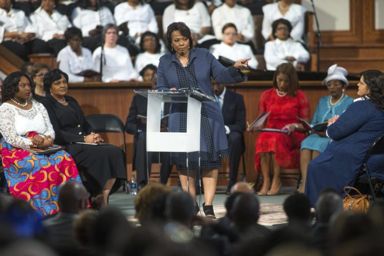 AP Photo BERNICE KING, daughter of the late Rev. Martin Luther King Jr., speaks during the Rev. Martin Luther King Jr. holiday commemorative service at Ebenezer Baptist Church where King preached, Monday in Atlanta.