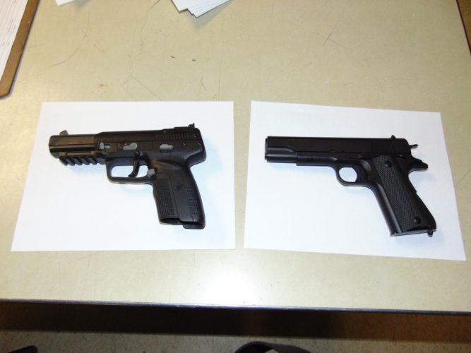 Photo Provided A man involved in an incident in Bellaire Sunday allegedly removed the orange safety tip from the barrel of a toy gun, causing it to look more like a real weapon and creating a potentially dangerous situation, according to Police Chief Mike Kovalyk. Kovalyk provided this photo of a real gun, left, and a toy gun, right, to illustrate the similar appearances of the weapon and the toy.