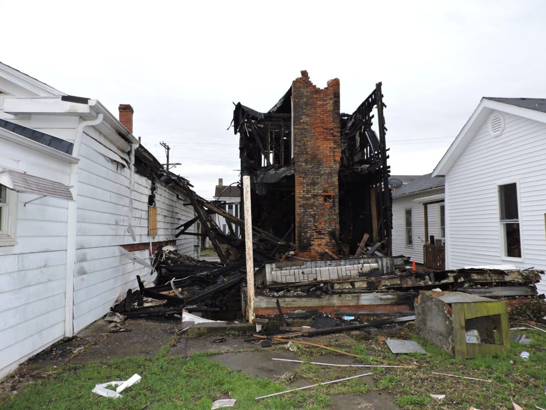 T-L Photo/SHELLEY HANSON  THE CITY of Martins Ferry wants to tear down this house that burned on Jefferson Avenue as a result of an arson fire in November.