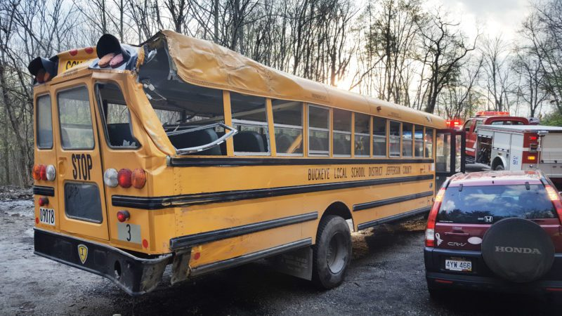 Photos by Scott McCloskey ABOVE:More than 20 students were injured when this Buckeye Local School District bus hit a tree along W.Va. 88 near West Liberty on Thursday.
