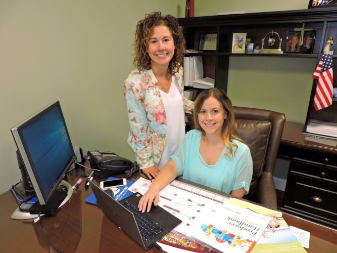 T-L Photo/SHELLEY HANSON SISTERS NICOLE Stephens, left, and Amanda Capuano recently opened their new insurance office, ValleyWide Insurance, in Martins Ferry.