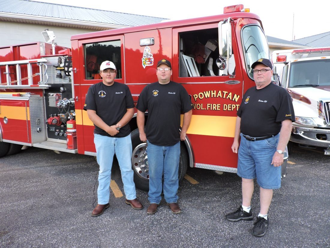 T-L File Photo/JANELL HUNTER  Powhatan Point EMS Squad Lt. Mark Petho, from left, Assistant Fire Chief Josh Cooper and Fire Chief Tom Nelms gather to promote their EMS/fire levies. After the levy was narrowly defeated in the November election, the Powhatan Volunteer Fire Department decided to place it on the ballot one more time for the May 2 election. The levy will help the department replace old equipment and provide better training.