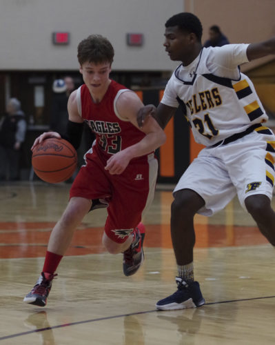 Youngsville's Brady Kesterholt (left) and the Eagles will look to build on a 7-win season in 2015-16, with winter sports practices officially getting underway today.
